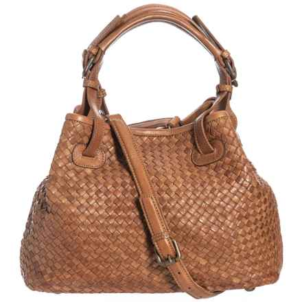 9aff5071d07 Valentina Made in Italy Medium Woven Leather Tote Bag (For Women) in Cognac