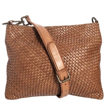 9b7777d38 Valentina Made in Italy Woven Leather Crossbody Bag - Small (For Women) in  Cognac