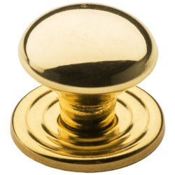 "Valsan Brass Cabinet Knob and Backplate - 1-1/2"" in Polished Round"