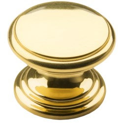 "Valsan Brass Cabinet/Drawer Knob - 1-1/4"" in Polished Flat"