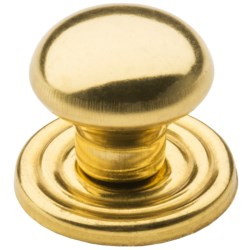 "Valsan Brass Cabinet/Drawer Knob and Backplate - 1"" in Polished Round"