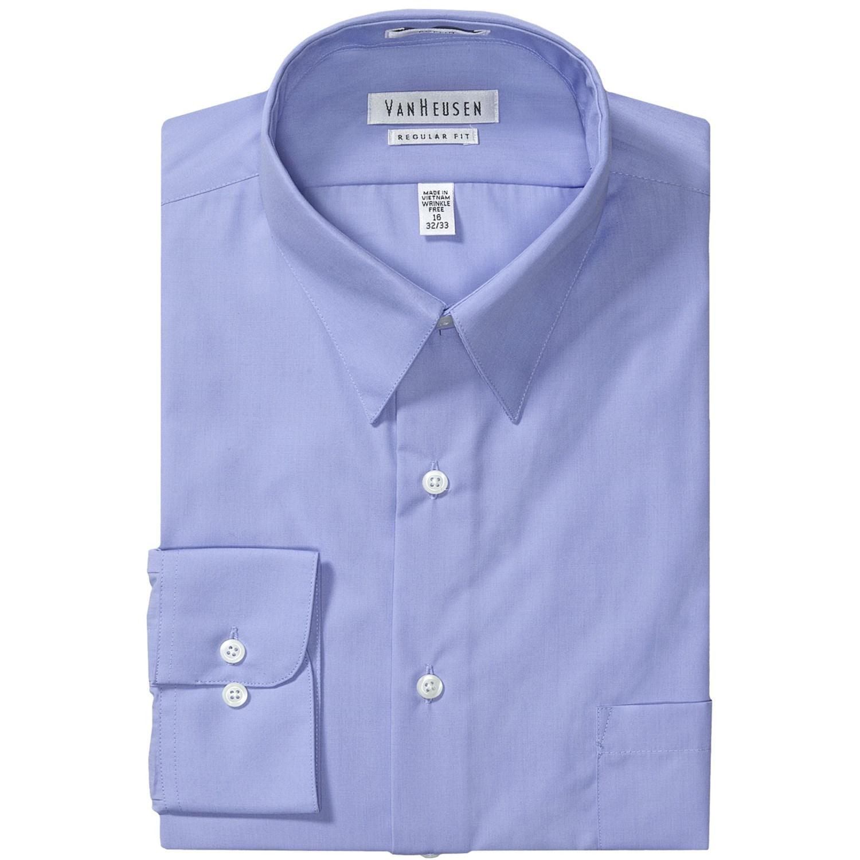 Van Heusen Basics Dress Shirt Wrinkle Free Poplin Long