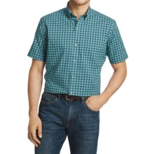 Van Heusen Luxe Touch Mini Plaid Shirt - Short Sleeve (For Men) in Aqu Adriatic Blue - Closeouts