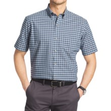 Van Heusen Luxe Touch Mini Plaid Shirt - Short Sleeve (For Men) in Blue Indigo - Closeouts