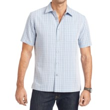 Van Heusen Plaid Shirt - Short Sleeve (For Men) in Blu Hampton - Closeouts