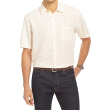 Van Heusen Plaid Shirt - Short Sleeve (For Men) in Cream Egret - Closeouts