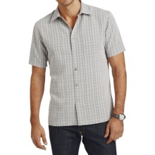 Van Heusen Plaid Shirt - Short Sleeve (For Men) in Grey Gargoyle - Closeouts