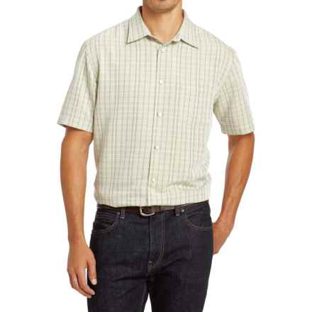 Van Heusen Plaid Shirt - Short Sleeve (For Men) in Olive Green - Closeouts