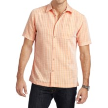 Van Heusen Plaid Shirt - Short Sleeve (For Men) in Orange Desert Sun - Closeouts
