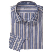 Van Laack Cotton-Linen Shirt - Spread Collar, Long Sleeve (For Men) in Blue/Tan Stripe - Closeouts