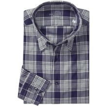 Van Laack Flannel Sport Shirt - Long Sleeve (For Men) in Grey/Blue Plaid Hidden - Closeouts