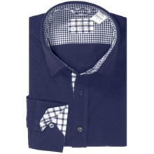 Van Laack Peton Check Knit Shirt - Long Sleeve (For Men) in Navy Blue - Closeouts