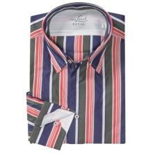 Van Laack Radici Flannel Sport Shirt - Tailored Fit, Long Sleeve (For Men) in Navy/Green/Orange Stripe - Closeouts