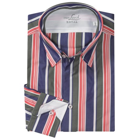 Van Laack Radici Flannel Sport Shirt - Tailored Fit, Long Sleeve (For Men) in Navy/Green/Orange Stripe