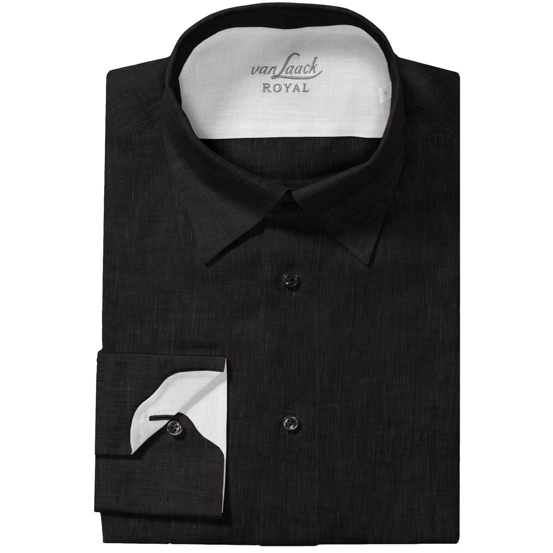 Van laack radici linen shirt regular fit hidden button for Hidden button down collar shirts