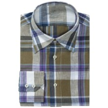 Van Laack Radici Linen Shirt - Regular Fit, Hidden Button-Down Collar, Long Sleeve (For Men) in Blue/White Plaid - Closeouts