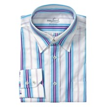 Van Laack Radici Shirt - Regular Fit, Long Sleeve (For Men) in Blue/Pink/Navy Stripe - Closeouts