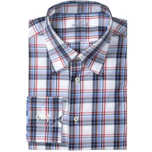 Van Laack Radici Shirt - Tailor Fit, Long Sleeve (For Men) in White/Blue/Red Plaid - Closeouts