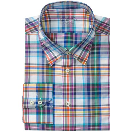 Van Laack Radici Shirt - Tailor Fit, Long Sleeve (For Men) in Whtie/Blue/Grey Plaid