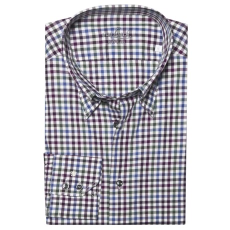 Van Laack Radici Tailored Fit Fashion Shirt - Long Sleeve (For Men) in White/Berry/Green Check