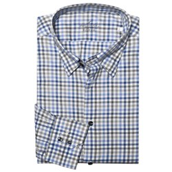Van Laack Radici Tailored Fit Fashion Shirt - Long Sleeve (For Men) in White/Black/Blue Plaid