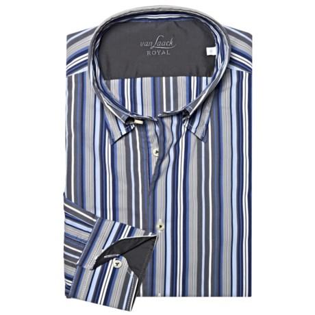 Van Laack Radici Tailored Fit Fashion Shirt - Long Sleeve (For Men) in White/Blue Multi Stripe