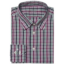 Van Laack Radici Tailored Fit Shirt - Hidden Button-Down Collar, Long Sleeve (For Men) in Black/Red/Green Multi Check - Closeouts