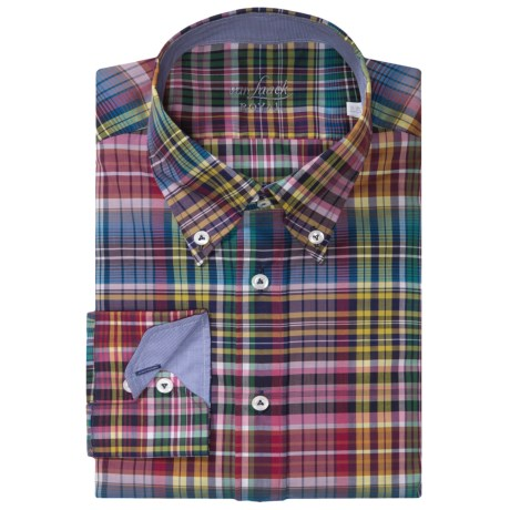 Van Laack Rarbi Cotton Shirt - Button Down, Long Sleeve (For Men) in Red/Green Multi Plaid
