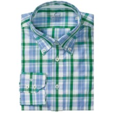 Van Laack Rarbi Shirt - Tailor Fit, Long Sleeve (For Men) in Blue/Green Plaid - Closeouts
