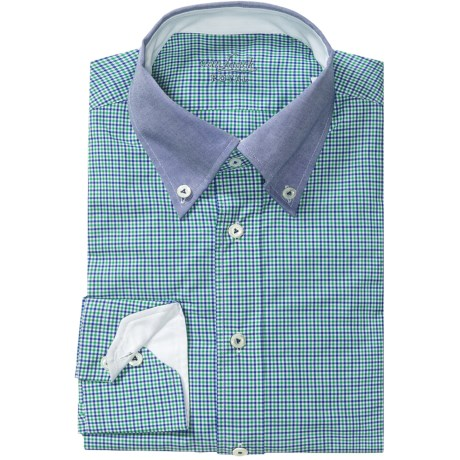 Van Laack Rarbi Shirt - Tailor Fit, Long Sleeve (For Men) in Green/Blue Micro Check