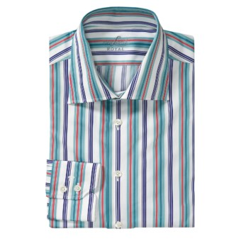 Van Laack Reda Stripe Sport Shirt - Tailor Fit, Long Sleeve (For Men) in Teal/White/Red Stripe
