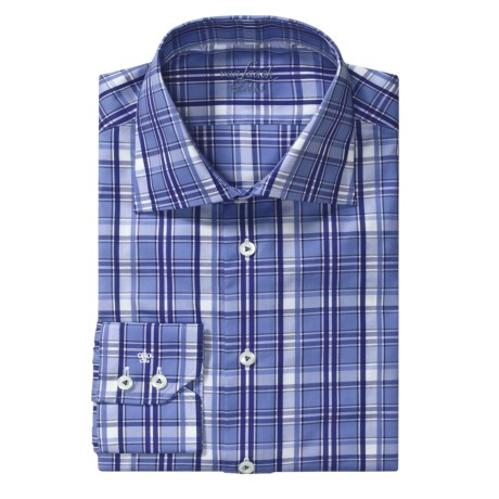 Van Laack Reda Tailored Fit Sport Shirt - Long Sleeve (For Men) in Blue/Navy/Denim Plaid