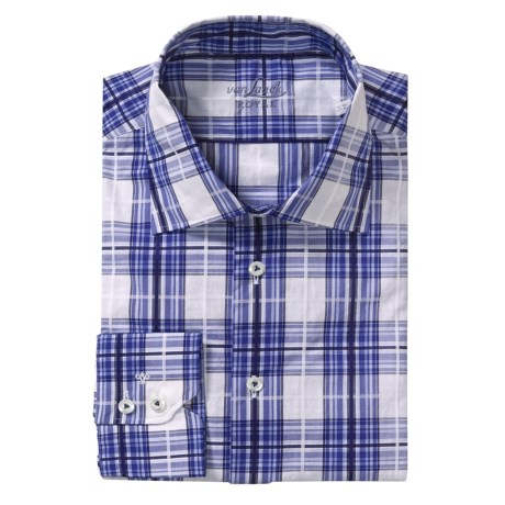 Van Laack Reda Tailored Fit Sport Shirt - Long Sleeve (For Men) in Blue/White/Navy Windowpane
