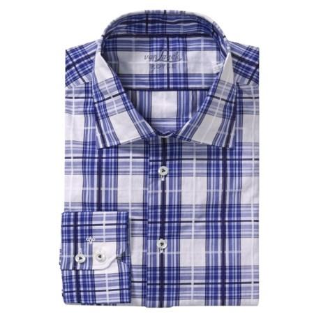 Van Laack Reda Tailored Fit Sport Shirt - Long Sleeve (For Men) in Blue/White/Navy Windowpane