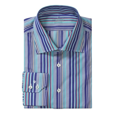 Van Laack Reda Tailored Fit Sport Shirt - Long Sleeve (For Men) in Navy/Teal/Red Stripe