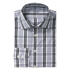Van Laack Reda Tailored Fit Sport Shirt - Long Sleeve (For Men) in White/Light Blue/Charcoal Stripe