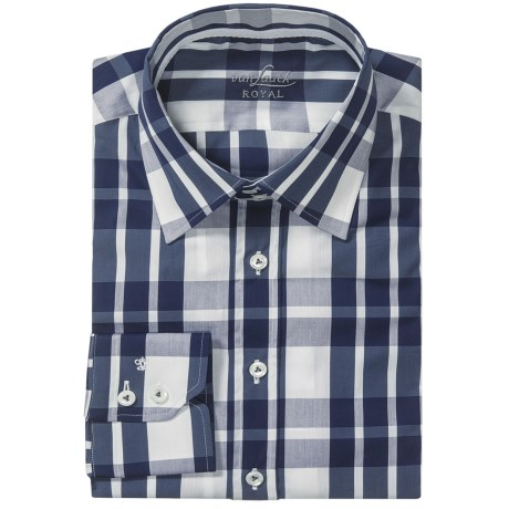 Van Laack Remco Cotton-Nylon Shirt - Slim Fit, Long Sleeve (For Men) in Navy/White Check