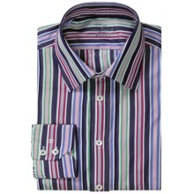 Van Laack Remco Cotton Stripe Shirt - Tailored Fit, Long Sleeve (For Men) in Navy/White Blue Milti Stripe - Closeouts