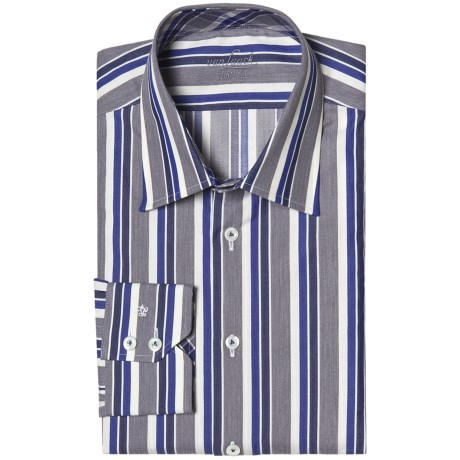 Van Laack Remco Tailored Fit Shirt - Spread Collar, Long Sleeve (For Men) in 980 Charcoal/Plum/White Stripe Herringbone