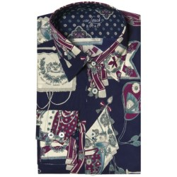 Van Laack Remco Tailored Fit Shirt - Spread Collar, Long Sleeve (For Men) in Navy Spanish Print