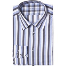 Van Laack Remco Tailored Fit Shirt - Spread Collar, Long Sleeve (For Men) in White/Charcoal/Blue Stripe - Closeouts
