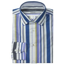 Van Laack Ret Cotton Shirt - Long Sleeve (For Men) in White/Blue/Brown Stripe - Closeouts