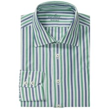 Van Laack Ret Cotton Shirt - Spread Collar, Long Sleeve (For Men) in Blue/Green Stripe - Closeouts