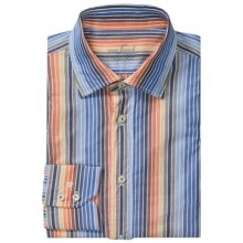 Van Laack Ret Cotton Shirt - Spread Collar, Long Sleeve (For Men) in Orange/Blue Multi Stripe - Closeouts
