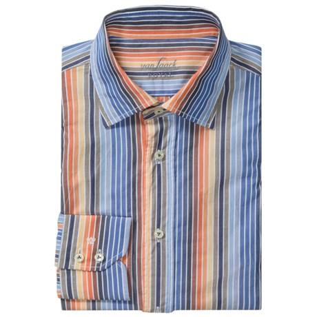Van Laack Ret Cotton Shirt - Spread Collar, Long Sleeve (For Men) in Orange/Blue Multi Stripe