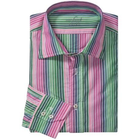Van Laack Ret Cotton Shirt - Spread Collar, Long Sleeve (For Men) in Pink/Green Multi Stripe