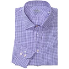 Van Laack Ret Micro-Check Shirt - Stretch Cotton, Long Sleeve (For Men) in Blue/White Micro Check - Closeouts