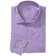Van Laack Ret Shirt - Spread Collar, Long Sleeve (For Men) in Blue/Pink Micro Check - Closeouts