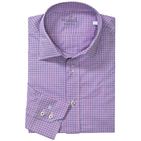 Van Laack Ret Shirt - Spread Collar, Long Sleeve (For Men) in Blue/Pink Micro Check
