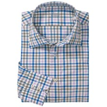 Van Laack Ret Shirt - Spread Collar, Long Sleeve (For Men) in Blue/Purple Mini Check - Closeouts